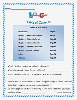 Table of Contents.  5 different table of contents worksheets. Common Core.