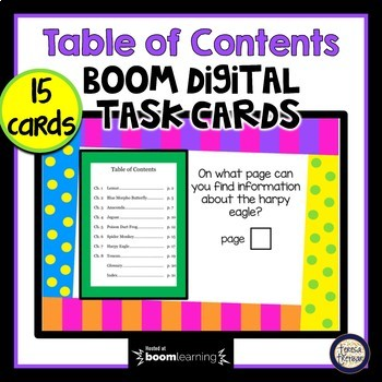 Table of Contents - Boom Cards Interactive Task Cards - Parts of a Book