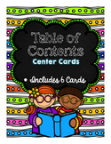 Table of Contents Center Cards