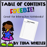 Table of Contents Freebie ~ Perfect for Interactive Notebo