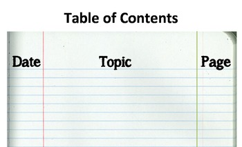 Table of Contents Header Poster on Legal Paper