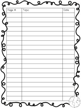 Table of Contents ~ Interactive Social Studies Notebook Pack