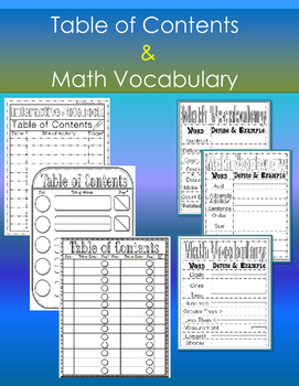Table of Contents(3)  & Math Vocabulary