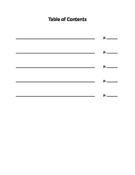 Table of Contents Page
