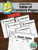 Table of Contents Page - All Subjects - Guided Notes / Int