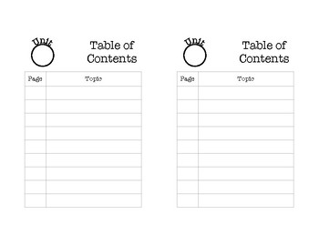 Table of Contents Page for Interactive Notebook