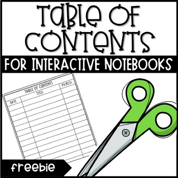Table of Contents Page for Interactive Notebooks - FREEBIE!
