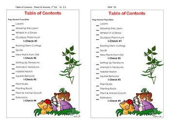 Table of Contents - Plants & Animals, 3rd. Ed.