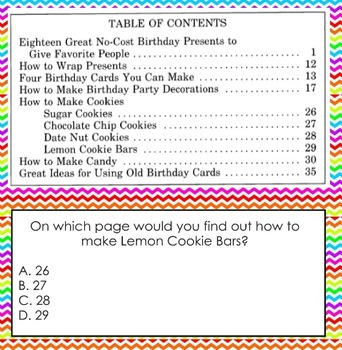 Table of Contents Practice