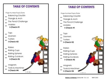 Table of Contents - Science Notebook Balance & Motion, 3rd. Ed.