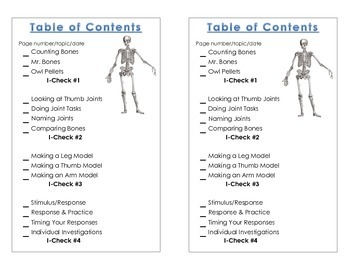 Table of Contents - Science Notebook Human Body, 2nd. Ed.