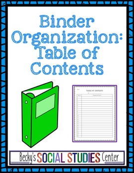 Table of Contents - Student Binder Organization