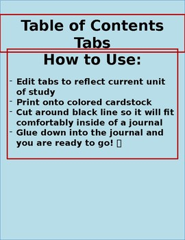Table of Contents Tabs for Interactive Notebooks
