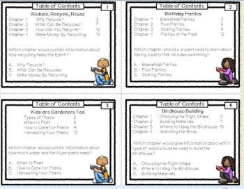 Table of Contents Task Cards