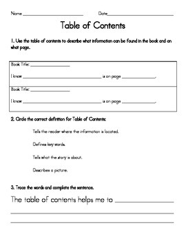 Table of Contents Worksheet