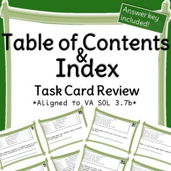Table of Contents and Indices Task Cards