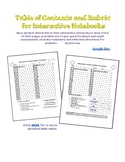 Table of Contents and Mini Rubric for Interactive Notebook