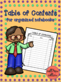 Table of Contents for Interactive Notebook