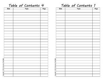Table of Contents for Interactive Notebooks (A Fill-In Form Using Adobe Reader)