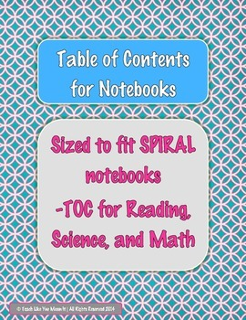 Table of Contents for Notebooks- 3 Subjects