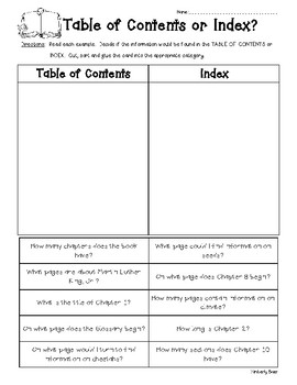 Table of Contents or Index Sorting Worksheet