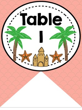 Table or Group Labels (Beach Theme)