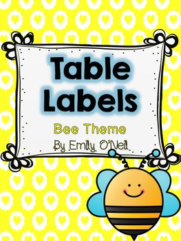 Table or Group Labels (Bee Theme)