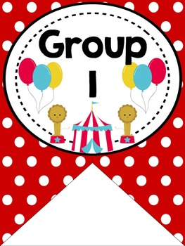 Table or Group Labels (Bright Circus Theme)