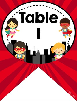 Table or Group Labels (Superhero Theme)