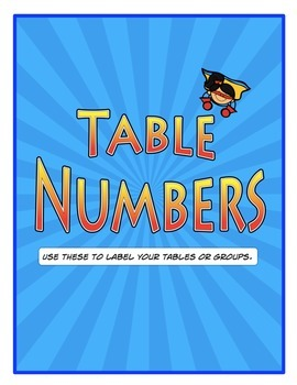 Table or Group Numbers Superhero