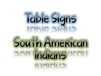 Table signs (Bilingual) Indios de Centro y Sur America
