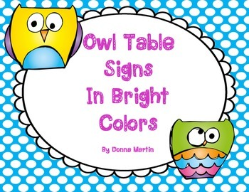 Owl Table Signs For Classroom Decorating in Bright Colors