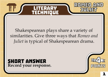 TableTop ELA -- Romeo and Juliet - Game-Based Literature Activity