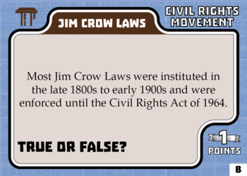 TableTop History -- Civil Rights Movement -- Game-Based Small Group Practice