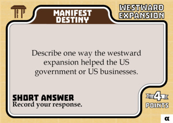 TableTop History -- Westward Expansion -- Game-Based Group Practice