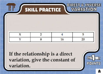 TableTop Math -- Direct & Inverse Variation -- Game-Based Small Group Practice