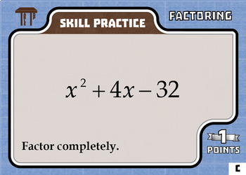 TableTop Math -- Factoring -- Game-Based Small Group Practice