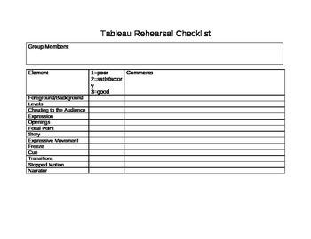 Tableau Rehearsal Checklist