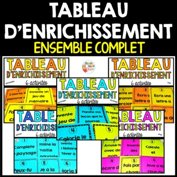 Tableau d'enrichissement  -  ENSEMBLE COMPLET   -   French early finisher