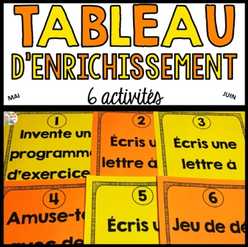 Tableau d'enrichissement  -  Mai et juin    -   French early finisher