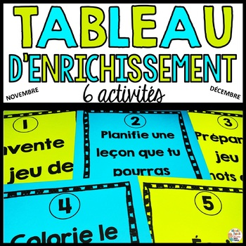 Tableau d'enrichissement - Novembre - Décembre (Noël)   - French Early Finisher