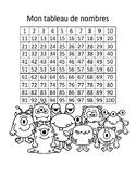 Tableau de nombres - 1 à 100 - Monstres