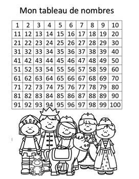 Tableau des nombres - 1 à 100 - Château