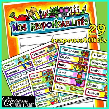 Tableau des responsabilités - 29 responsabilités