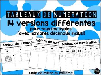 Tableaux de numération - 14 versions pour tous les cycles