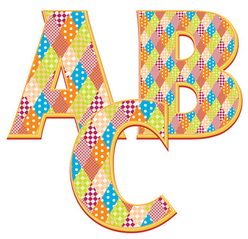 """Tablecloth Pattern! Alphabet Clip Art  /  96 pcs - 3"""" High, Vector PDF and PNGs"""