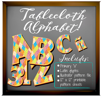 "Tablecloth Pattern! Alphabet Clip Art  /  96 pcs - 3"" High, Vector PDF and PNGs"