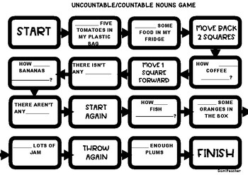 Tablero para practicar Countable and uncountable nouns + There is/There are
