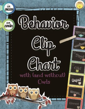 English + Spanish Behavior Clip Chart with Log -Tablero de