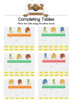 Tables & Graphs: Complete the Table BUNDLE - K-5th Grades